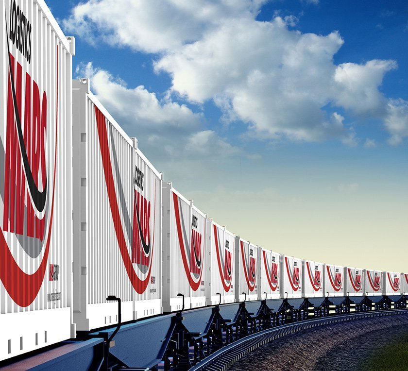 render of train with containers