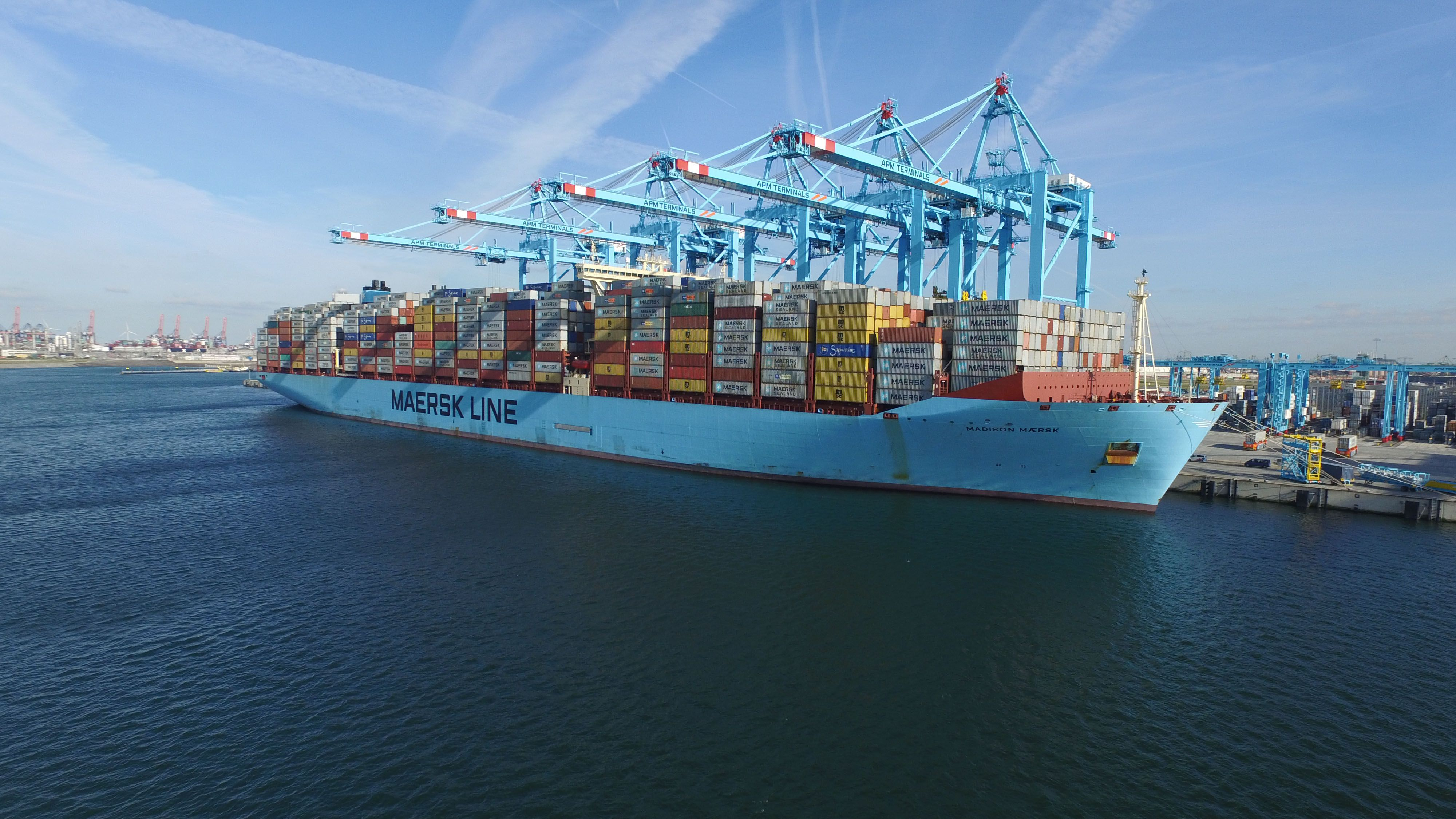 huge container ship in port of Rotterdam