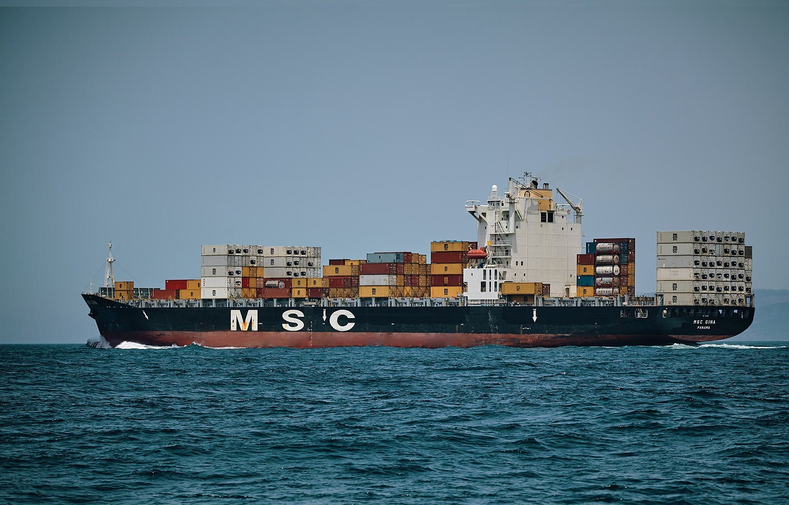 Ship full of containers at sea