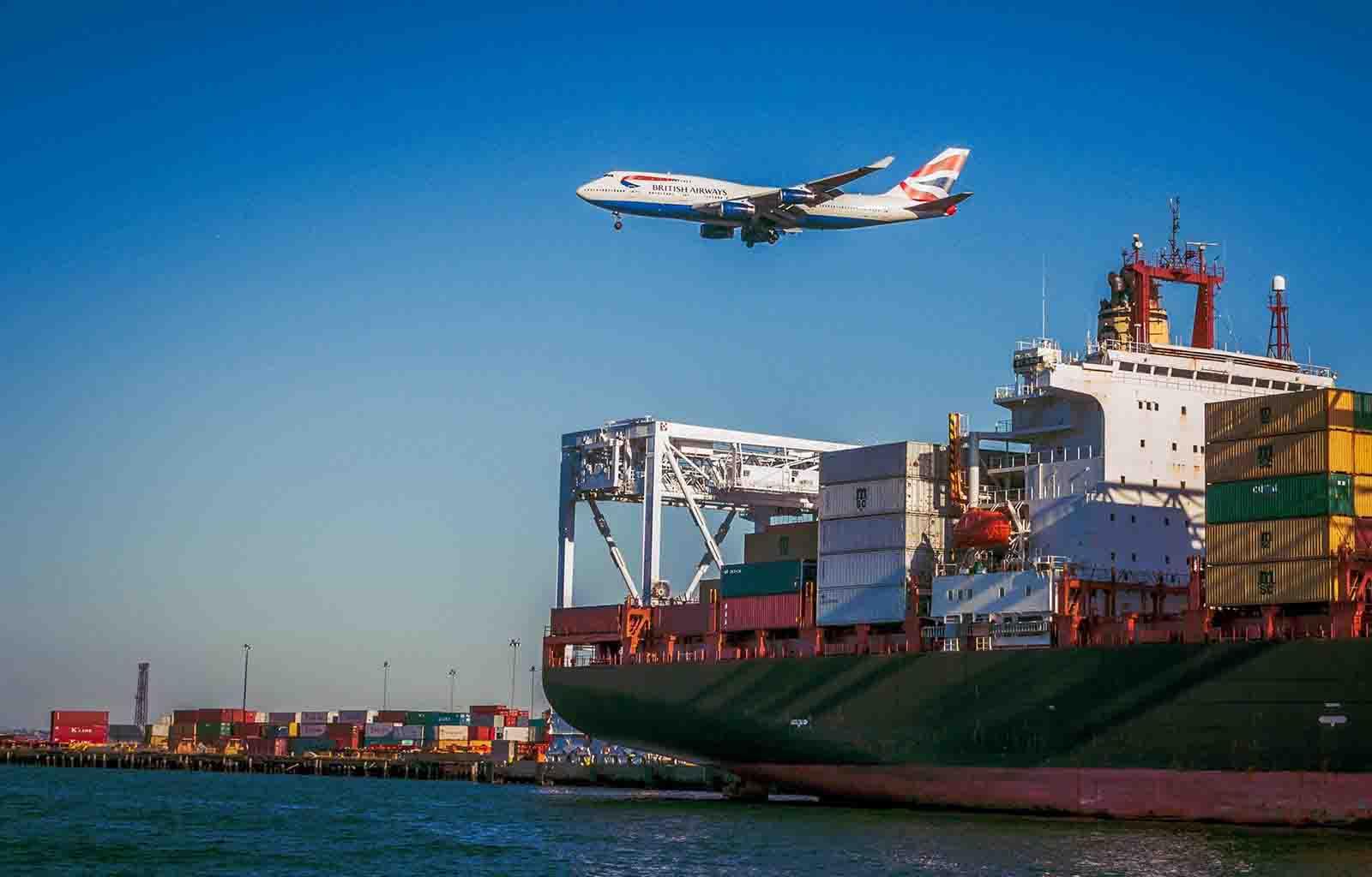 Ariplane and ship